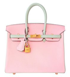 4356d2841709 Hermes Birkin Bag 25cm HSS Bi-Color Rose Sakura and Gris Perle Chèvre Gold  Hardware