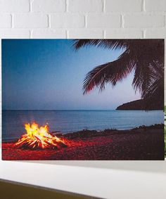 Another great find on #zulily! Beach Campfire Lighted Wrapped Canvas #zulilyfinds