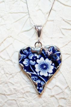Broken China Jewelry Heart Pendant Necklace Staffordshire Calico Blue Chintz - Sterling Silver Chain Included