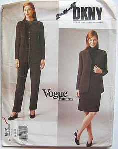 DKNY Misses' Jacket, Skirt and Pants, Suit, Separates, Vogue 1982 Sewing Pattern UNCUT Sizes 12-16-18  Donna Karan