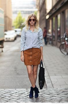 fashion-clue:  justthedesign:  Go all out with the buttons - just match a striped shirt with a cute suede skirt! Via Elsa EkmanShirt: Lindex, Skirt: Zalando, Boots: Zalando  www.fashionclue.net   Fashion Tumblr, Street Wear & Outfits  Nice! Cool!