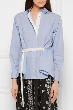 SACAI Satin-paneled poplin shirt $350.00