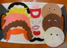 felt faces--trace a plate for the face. Make different hairs and mouths, etc. Draw the faces on by hand.