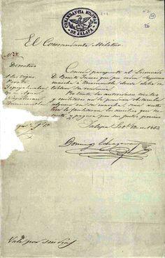 DOCUMENTO-111-A. (1 imagen) Expediente que comprende los documentos relativos al destierro del  ciudadano Benito Juárez. Oaxaca, Puebla; Jalapa, mayo-diciembre de 1853. Benito Juárez, vol. 1, exp. 26, fs. 13, 14 y 15 ~ AGN
