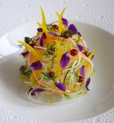 """Vegetable Capellini Salad"""" turnip,carrot,zucchini,pickled onion with saffron. Decoration Patisserie, Food Decoration, Food Design, Wine Recipes, Gourmet Recipes, Gourmet Salad, Food Porn, Molecular Gastronomy, Cookies Et Biscuits"""