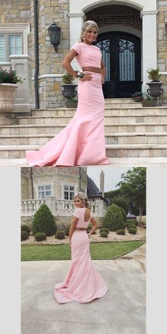 Gorgeous Two Piece Mermaid Pink Long Prom Dress with Beads