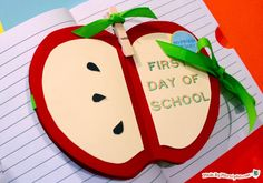 Get ready for back to school fun with this Apple Mini Album. You can use back to school crafts like this either in our out of the classroom.and they make great gifts for teachers, too! Scrapbook with your kids as they tell you all about their day! Easy Crafts For Kids, Crafts To Make, Cardboard Crafts, Paper Crafts, Back To School Kids, Holiday Club, Memory Album, Mini Apple, School Memories