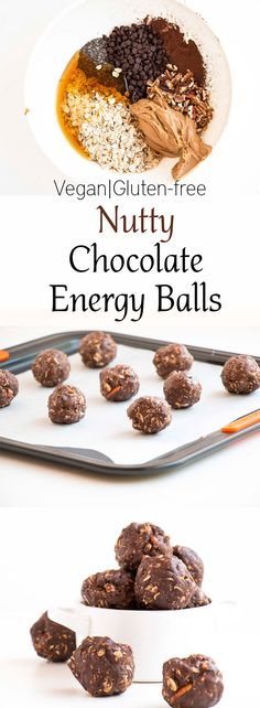 Nutty Chocolate Energy Balls. Vegan, gluten free, made with chia seeds, peanut butter and pecan nuts.