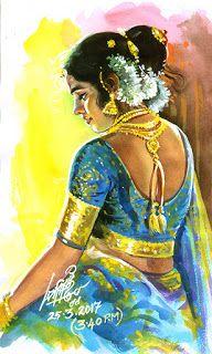 20 Beautiful Tamilnadu Paintings by famous artist Maruthi - Indian Paintings Indian Women Painting, Indian Art Paintings, Indian Artist, Old Paintings, Beautiful Paintings, Indian Traditional Paintings, Popular Paintings, Girl In Water, Fantasy Art Women