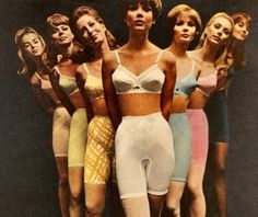 A rainbow of 1960s foundation garments ... Oh, what we suffered for beauty in the 60s-70s!