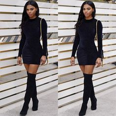 Styled my #Lurelly #Katedress with thigh high boots while the #LA weather allows it