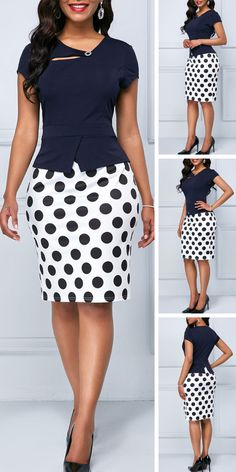 Cap Sleeve Polka Dot Print Navy Blue Sheath Dress - Es Tutorial and Ideas Latest African Fashion Dresses, African Print Fashion, Women's Fashion Dresses, Sexy Dresses, Cute Dresses, Dress Outfits, Elegant Dresses, Formal Dresses, Wedding Dresses
