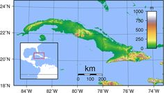 Cuba Topography - Cuba – Wikipédia, a enciclopédia livre > Mapa topográfico de Cuba.