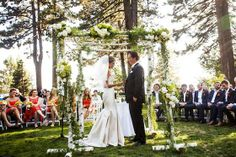 That altar is perfect for a couple of nature lovers getting hitched in Tahoe.