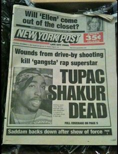 Tupac dead - Newspaper - Hip hop ya don't stop Tupac Shakur, 2pac Quotes, Life Quotes, Tupac Dead, Mano Brown, Break Dance, Trap Rap, Hiphop, Tupac Pictures
