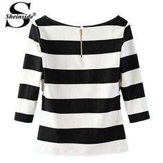 Sheinside Autumn Fall Clothing Novelty Ethnic Work Wear Female Half Sleeve Black White Striped Scoop Neck Women Tops T-Shirt