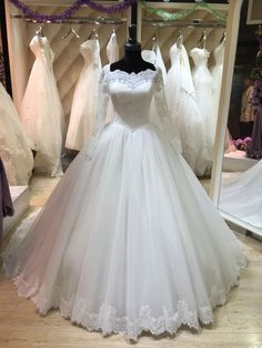 Bridal Dresses, Wedding Dresses 2017, Full Sleeve Wedding Dress, Ball Gown Wedding Dresses, Lace Wedding Dresses, Square Neck Wedding Dress, Bridal Gowns,Lace Wedding Dress, Vintage Puffy Tulle Wedding Dresses, Bridal Dresses, Wedding Party Dresses, Custom Made