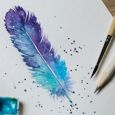 Paint Techniques: Watercolor Grapes with Lian Quan Zhen – feather diy Feather Drawing, Watercolor Feather, Feather Painting, Feather Art, Watercolor And Ink, Watercolor Paintings, Blue Feather, Watercolor Projects, Art Sketchbook