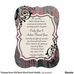 "Vintage Rose Old Barn Wood Swirl Wedding 5"" X 7"" Invitation Card"