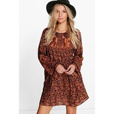 Boohoo Iolanda Elephant Print Smock Dress featuring polyvore, women's fashion, clothing, dresses, multi, body con dress, special occasion dresses, cocktail dresses, camisole dress and cami bodycon dress