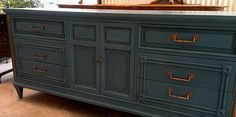 Chalk Paint® by Annie Sloan, Aubusson Blue with Dark Wax by The Owl Box