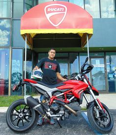 Way to go, Steven! Congrats on your new Hypermotard, one of the wildest rides in the Ducati line-up. Enjoy! via our sister store, Two Wheels World, in South Florida.
