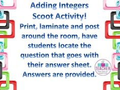 This is a scoot activity that I created trying to get my kids up and moving. I had them pair up and 1 had the paper with the answers and clipboard the other had a white board and white erase marker to work out the problems to locate the question that goes to each answer provided.