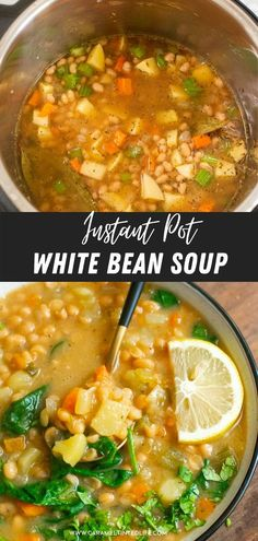 Make easy white bean soup recipe in the Instant Pot in under 30 minutes #vegetarian #easy #healthy #vegan #whitebean #soup #instantpot White Bean Soup, White Beans, Food Dishes, Main Dishes, Healthy Dinner Recipes, Vegetarian Recipes, Soup Beans, Cubed Potatoes, Food Test