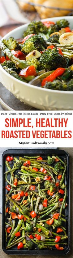 These roasted veggies are life changing! Seriously. My whole family loves to eat our veggies now! Basically just chop up veggies, put them in a pan with a little oil and salt and roast until they are perfection! Vegetable Recipe For A Crowd, Vegetable Recipes Easy Healthy, Vegetable Korma Recipe, Vegetable Recipes For Kids, Grilled Vegetable Recipes, Vegetable Samosa, Paleo Recipes, Real Food Recipes, Free Recipes
