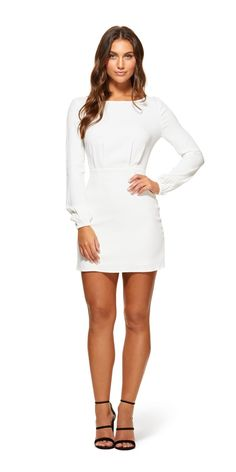 2a00cdfdf2a0 The Vesper Dress is made from Viscose and Elastane (main). The Vesper Dress  is a long sleeve dress that features a high crew neckline with a statement  pl