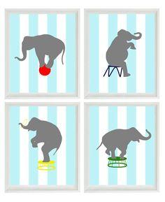 Circus Elephant - Stripes Big Top art prints