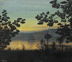 Holmboe, Thorolf (1866-1935) Sommernatt  Pastell og akvarell på papir, lysmål, 67x77