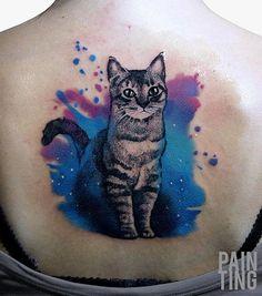 Watercolor cute cat back tattoo - 100  Examples of Cute Cat Tattoo  <3 <3