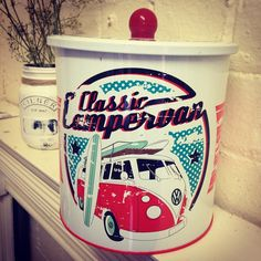 VW Classic Camper Biscuit Tin Classic biscuit tin with popular VW Camper Van design Red blue white A new kitchen range officially licensed by
