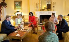 Rise and Shine | The Obama Diary First Lady Michelle Obama and President Obama meet with the Crown Prince and Princess of the Netherlands in the Yellow Oval Room of the White House in Washington, D.C., Sept. 11, 2009 (Photo by Samantha Appleton)