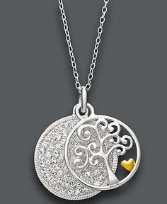 Sterling Silver Necklace, Crystal Family Tree Pendant - Necklaces - Jewelry & Watches - Macy's $100