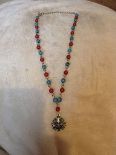 """Vintage Red And Blue Necklace 10"""" Long #1266"""