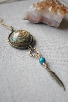 Nurture, Peace & Healing Dream Catcher Orgonite Necklace- Turquoise and Jasper.Reiki Energy.Protection.Healing by ElementsOfLifeStore on Etsy