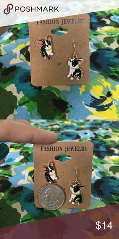 Brand new asymmetrical dog earrings!  Never worn asymmetrical Boston Terrier earrings! One earring is a stud while the other is a dangling style. Perfect earrings for dog owners and dog lovers. Sturdy metal and lacquer material, these earrings are very shiny! Modcloth Jewelry Earrings