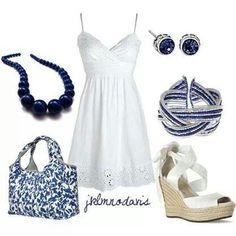 White dress & blue accessories