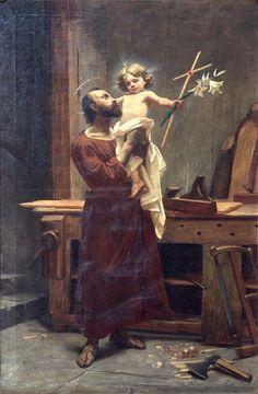 Saint Joseph and Baby Jesus - St Joseph Catholic, Catholic Art, Catholic Saints, Religious Art, Religious Pictures, Jesus Pictures, Vintage Holy Cards, Biblical Art, Holy Family
