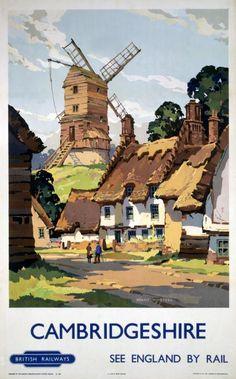 Cambridgeshire England by Rail Vintage Travel Poster Print