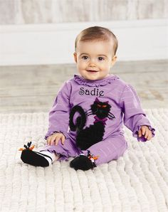 Black Cat One Piece Halloween Costume Idea for Baby 0-6 months - Cotton sleeper with chiffon cat applique, ruffle accents and inner leg snap closure.