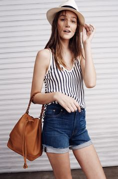 Madewell high-rise boyshort worn with stripe tank + Biltmore® Madewell hat.