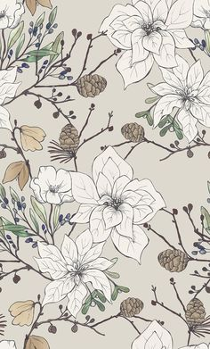 White Poinsettia print by Katy Hackney licensed surface pattern design in the Craft consortium Winter Woodland book - Armelle Froideval - Flower Wallpaper, Pattern Wallpaper, Wallpaper Backgrounds, Iphone Wallpaper, White Backgrounds, Textures Patterns, Print Patterns, Pattern Print, Tumblr Pattern
