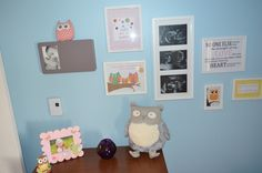 An owl themed nursery featuring Pier 1 Grey Owl and Solar Owl Desk Pet