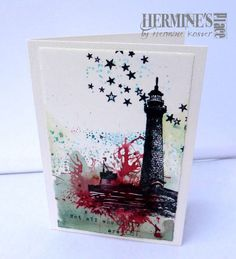 Stamped card, coloured with Bistre - Bister, made by Hermine Koster