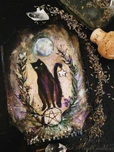 "newmoongoddess: "" This curious black cat ~ Thank you Sparrows for all the amazing art sales :) It truly touches my heart to see my creations gracing others walls for magical enjoyment. Xx """