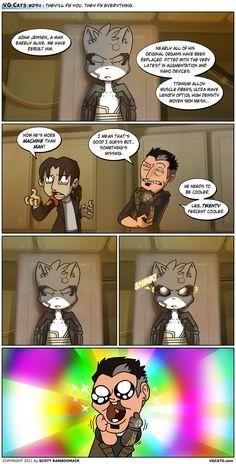Deus Ex Human Revolution. Cat Comics, Funny Comics, Dorkly Comics, Best Friends Play, Deus Ex Human, Art Memes, Fix You, Furry Art, Best Funny Pictures