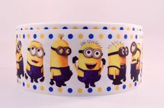 "3"" Wide Minion with Yellow and Blue Dots on White Grosgrain Cheer Bow Ribbon"